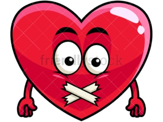 Taped mouth heart emoticon. PNG - JPG and vector EPS file formats (infinitely scalable). Image isolated on transparent background.