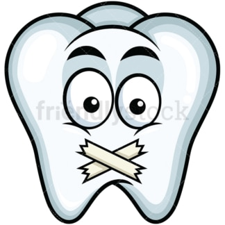 Taped mouth tooth emoticon. PNG - JPG and vector EPS file formats (infinitely scalable). Image isolated on transparent background.
