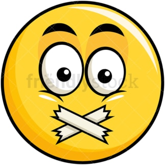 Taped mouth yellow smiley emoticon. PNG - JPG and vector EPS file formats (infinitely scalable). Image isolated on transparent background.