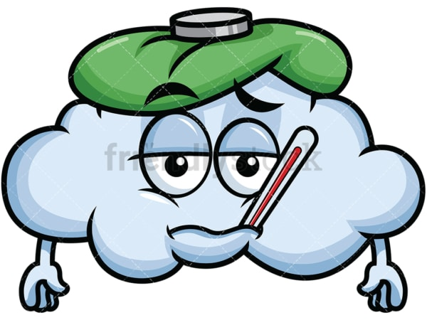Feverish sick cloud emoticon. PNG - JPG and vector EPS file formats (infinitely scalable). Image isolated on transparent background.