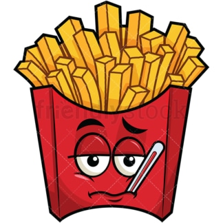 Feverish sick french fries emoticon. PNG - JPG and vector EPS file formats (infinitely scalable). Image isolated on transparent background.