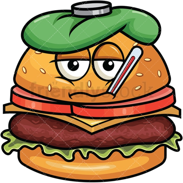 Feverish sick hamburger emoticon. PNG - JPG and vector EPS file formats (infinitely scalable). Image isolated on transparent background.