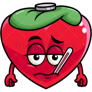 Feverish sick heart emoticon. PNG - JPG and vector EPS file formats (infinitely scalable). Image isolated on transparent background.