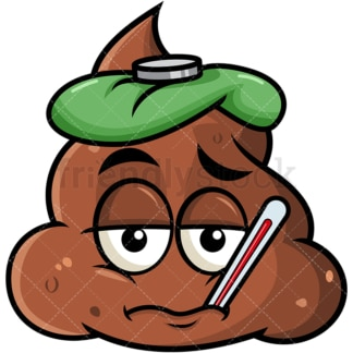 Feverish sick poop emoticon. PNG - JPG and vector EPS file formats (infinitely scalable). Image isolated on transparent background.