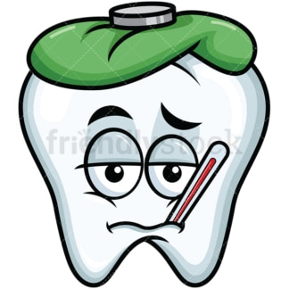 Feverish sick tooth emoticon. PNG - JPG and vector EPS file formats (infinitely scalable). Image isolated on transparent background.