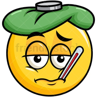 Feverish sick yellow smiley emoticon. PNG - JPG and vector EPS file formats (infinitely scalable). Image isolated on transparent background.