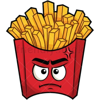 Annoyed french fries emoticon. PNG - JPG and vector EPS file formats (infinitely scalable). Image isolated on transparent background.