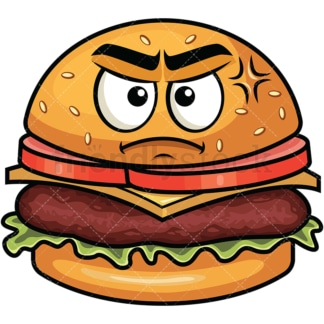 Annoyed hamburger emoticon. PNG - JPG and vector EPS file formats (infinitely scalable). Image isolated on transparent background.