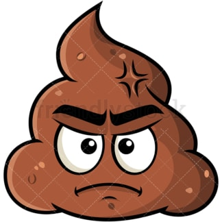 Annoyed poop emoticon. PNG - JPG and vector EPS file formats (infinitely scalable). Image isolated on transparent background.