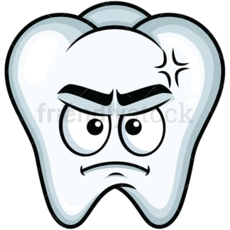 Annoyed tooth emoticon. PNG - JPG and vector EPS file formats (infinitely scalable). Image isolated on transparent background.