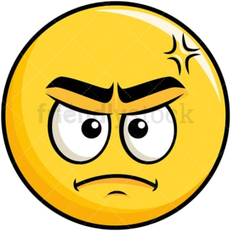 Annoyed yellow smiley emoticon. PNG - JPG and vector EPS file formats (infinitely scalable). Image isolated on transparent background.