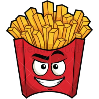 Cunning evil face fries emoticon. PNG - JPG and vector EPS file formats (infinitely scalable). Image isolated on transparent background.
