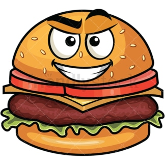 Cunning evil face hamburger emoticon. PNG - JPG and vector EPS file formats (infinitely scalable). Image isolated on transparent background.
