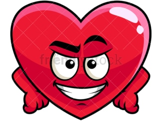 Cunning evil face heart emoticon. PNG - JPG and vector EPS file formats (infinitely scalable). Image isolated on transparent background.
