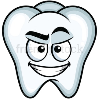 Cunning evil face tooth emoticon. PNG - JPG and vector EPS file formats (infinitely scalable). Image isolated on transparent background.