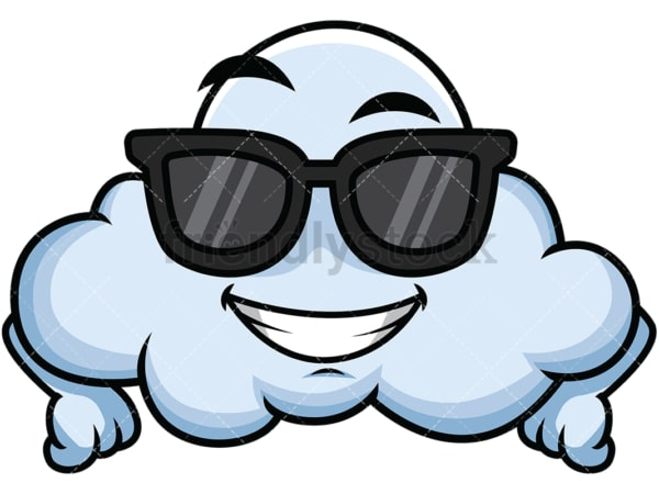 Cool cloud wearing sunglasses emoticon. PNG - JPG and vector EPS file formats (infinitely scalable). Image isolated on transparent background.