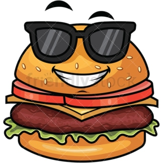 Cool hamburger wearing sunglasses emoticon. PNG - JPG and vector EPS file formats (infinitely scalable). Image isolated on transparent background.