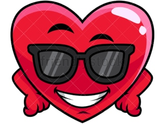 Cool heart wearing sunglasses emoticon. PNG - JPG and vector EPS file formats (infinitely scalable). Image isolated on transparent background.