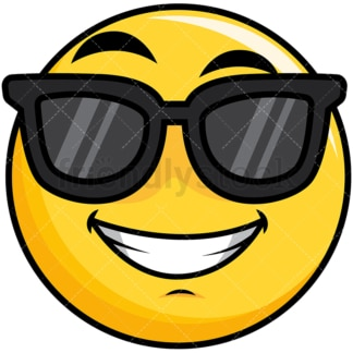 Cool yellow smiley with sunglasses. PNG - JPG and vector EPS file formats (infinitely scalable). Image isolated on transparent background.