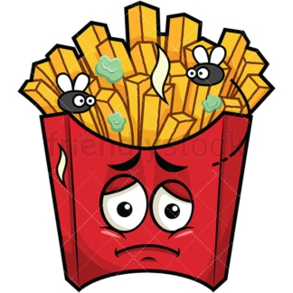 Stinky french fries going bad emoticon. PNG - JPG and vector EPS file formats (infinitely scalable). Image isolated on transparent background.