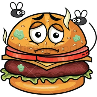 Stinky hamburger going bad emoticon. PNG - JPG and vector EPS file formats (infinitely scalable). Image isolated on transparent background.