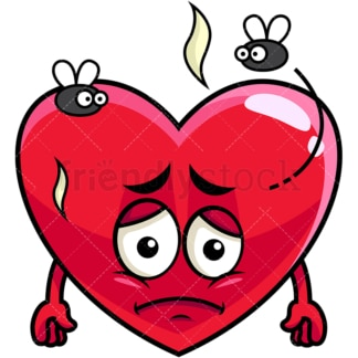 Stinky heart going bad emoticon. PNG - JPG and vector EPS file formats (infinitely scalable). Image isolated on transparent background.