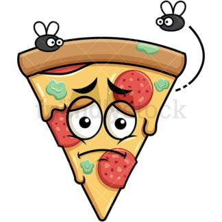 Stinky pizza going bad emoticon. PNG - JPG and vector EPS file formats (infinitely scalable). Image isolated on transparent background.