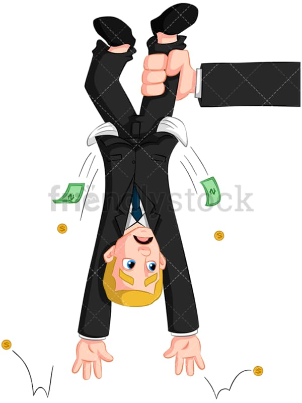 Arm holding business man upside down. PNG - JPG and vector EPS (infinitely scalable). Image isolated on transparent background.