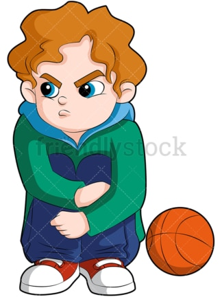 Benched basketball player angry kid. PNG - JPG and vector EPS (infinitely scalable). Image isolated on transparent background.