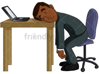 Black businessman falling asleep. PNG - JPG and vector EPS (infinitely scalable). Image isolated on transparent background.