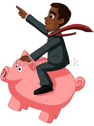 Black businessman on piggy bank. PNG - JPG and vector EPS (infinitely scalable). Image isolated on transparent background.