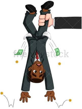Black businessman shaken upside down. PNG - JPG and vector EPS (infinitely scalable). Image isolated on transparent background.