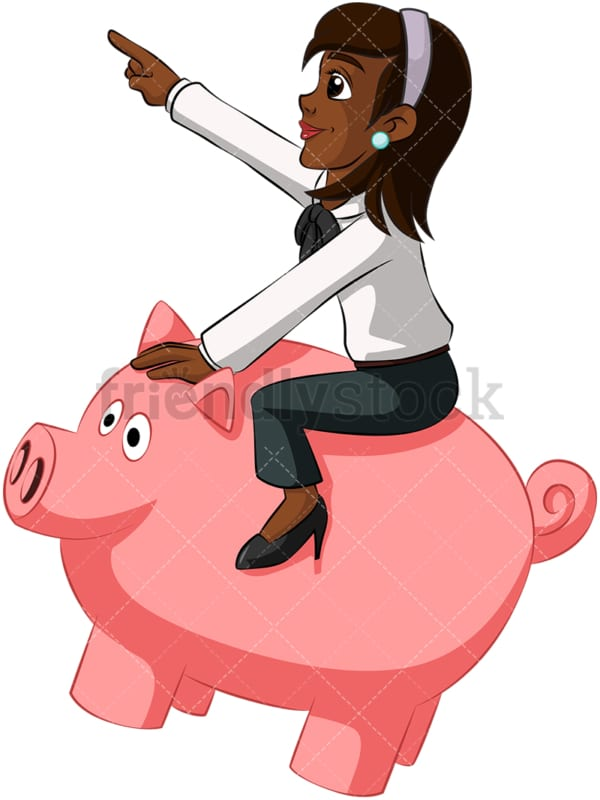 Black businesswoman on piggy bank. PNG - JPG and vector EPS (infinitely scalable). Image isolated on transparent background.