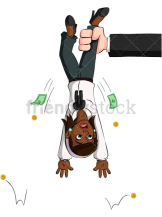 Black businesswoman shaken for money. PNG - JPG and vector EPS (infinitely scalable). Image isolated on transparent background.