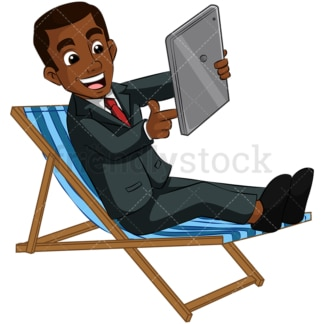 Black guy using tablet. PNG - JPG and vector EPS (infinitely scalable). Image isolated on transparent background.