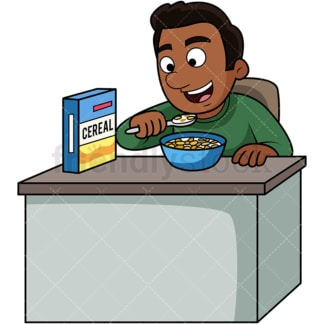 Black man enjoying cereal. PNG - JPG and vector EPS. Image isolated on transparent background.