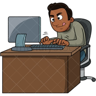 Black man typing fast. PNG - JPG and vector EPS file formats (infinitely scalable). Image isolated on transparent background.