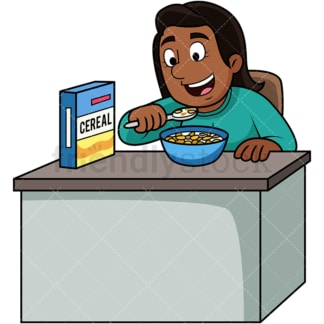 Black woman enjoying cereal. PNG - JPG and vector EPS. Image isolated on transparent background.