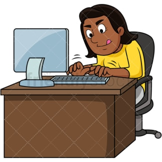 Black woman working hard on computer. PNG - JPG and vector EPS file formats (infinitely scalable). Image isolated on transparent background.