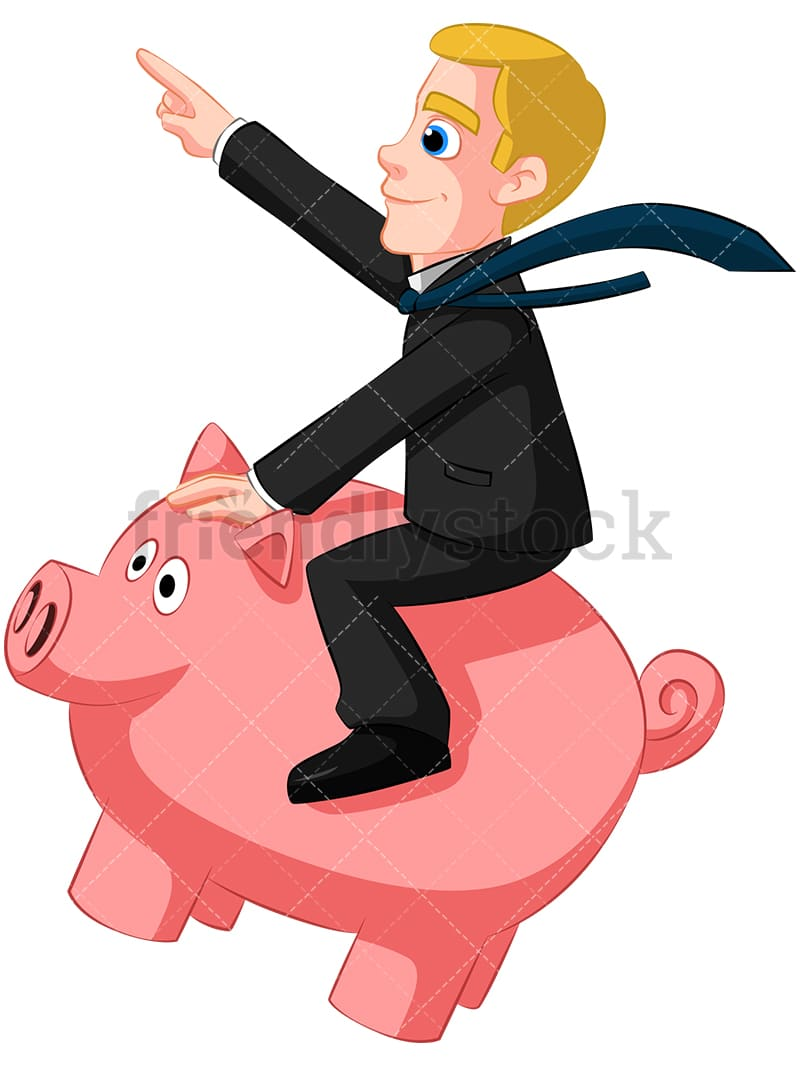 Businessman Riding Piggy Bank Vector Cartoon Clipart ...