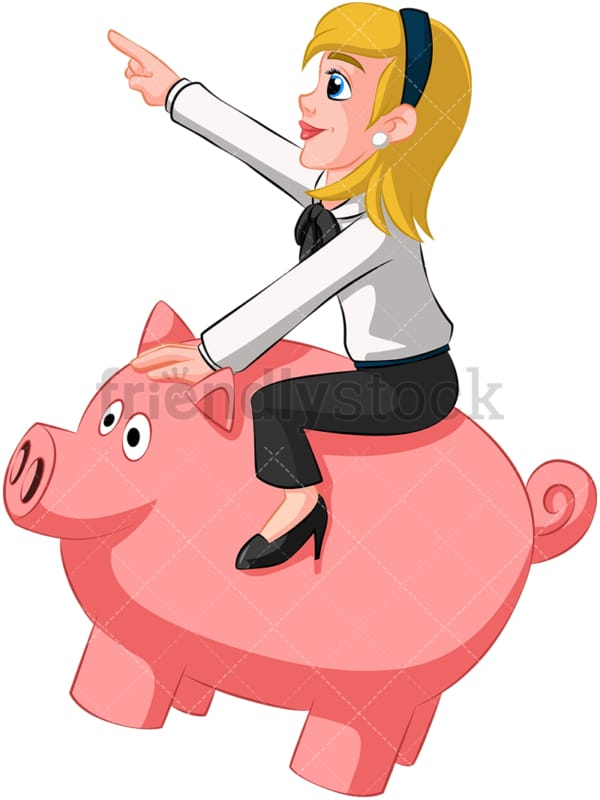 Businesswoman riding piggy bank. PNG - JPG and vector EPS (infinitely scalable). Image isolated on transparent background.