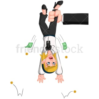 Businesswoman upside down. PNG - JPG and vector EPS (infinitely scalable). Image isolated on transparent background.