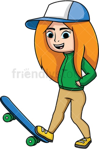 Cool girl skateboarder. PNG - JPG and vector EPS file formats (infinitely scalable). Image isolated on transparent background.