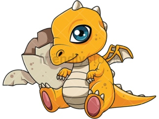 Cute dragon hatchling. PNG - JPG and vector EPS file formats (infinitely scalable). Image isolated on transparent background.