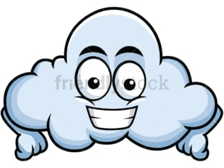 Grinning cloud emoticon. PNG - JPG and vector EPS file formats (infinitely scalable). Image isolated on transparent background.