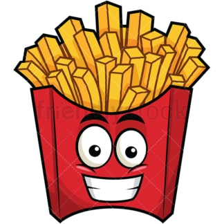 Grinning french fries emoticon. PNG - JPG and vector EPS file formats (infinitely scalable). Image isolated on transparent background.