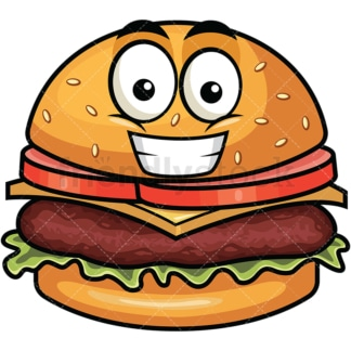 Grinning hamburger emoticon. PNG - JPG and vector EPS file formats (infinitely scalable). Image isolated on transparent background.