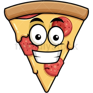 Grinning pizza emoticon. PNG - JPG and vector EPS file formats (infinitely scalable). Image isolated on transparent background.