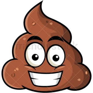 Grinning poop emoticon. PNG - JPG and vector EPS file formats (infinitely scalable). Image isolated on transparent background.