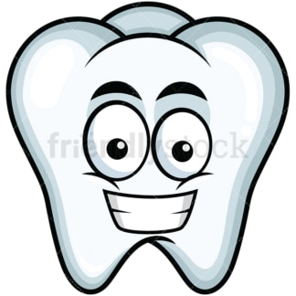 Grinning tooth emoticon. PNG - JPG and vector EPS file formats (infinitely scalable). Image isolated on transparent background.